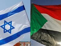 This combination of pictures created on October 23, 2020 shows (L to R) an Israeli flag during a rally in the coastal city of Tel Aviv on September 19, 2020; and a Sudanese flag during a gathering east of the capital Khartoum on June 3, 2020. Sudan and Israel agreed on Otober 23 to normalise relations, in a US-brokered deal to end decades of hostility that was widely welcomed but stirred Palestinian anger. The announcement makes Sudan, technically at war with Israel since its 1948 foundation, the fifth Arab