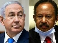 This combination of pictures created on October 24, 2020 shows (L to R) Israeli Prime Minister Benjamin Netanyahu during a cabinet meeting in Jerusalem on July 29, 2018; and Sudan's Prime Minister Abdullah Hamduk during a meeting in the capital Khartoum on July 26, 2020. Sudan and Israel agreed on Otober 23 to normalise relations, in a US-brokered deal to end decades of hostility that was widely welcomed but stirred Palestinian anger. The announcement makes Sudan, technically at war with Israel since its 19