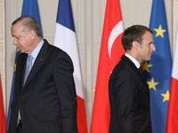 "In this file photo taken on January 5, 2018 French President Emmanuel Macron (R) and Turkish President Recep Tayyip Erdogan walk during a joint press conference at the Elysee Palace in Paris. Turkish President Recep Tayyip Erdogan slammed on October 24, 2020 his French counterpart, Emmanuel Macron, over his policies toward Muslims, saying that he needed ""mental checks."" ""What can one say about a head of state who treats millions of members from different faith groups this way: first of all, have mental chec"