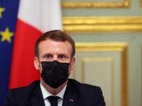 French President Emmanuel Macron takes part in a video conference on the coronavirus outbreak with members of the European Council at the Elysee Palace in Paris on October 29, 2020. Thibault Camus / POOL / AFP