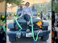Woman Athlete Pulls 4,800-pound Jeep for Dubai Fitness Challenge. (Instagram)