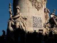 Dozens of rallies are planned on November 28 against a new French law that would restrict sharing images of police, only days after the country was shaken by footage showing officers beating and racially abusing a black man. JOEL SAGET / AFP