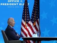 U.S. President-elect Joe Biden speaks virtually to the National Association of Counties Board of Directors December 4, 2020 at the Queen theater in Wilmington, Delaware. Alex Wong/Getty Images/AFP