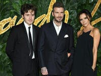 Brooklyn Beckham, David Beckham & Victoria Beckham at The Fashion Awards 2018. (shutterstock)
