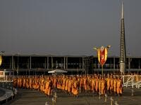 Buddhist monks arrive for Makha Bucha celebrations at Wat Dhammakaya, north of Bangkok on February 26, 2021. Jack TAYLOR / AFP