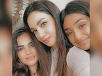 Lebanese songstress Diana Haddad posted a picture with her two daughters and sent them heartfelt prayers