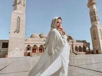 Russian bellydancer Johara posing at famous Mosque in Hurghada