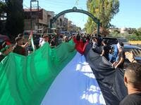 Rallies in support of the Palestinians at Lebanon's southern border.