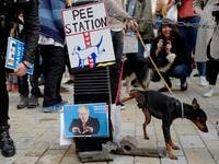 "A dog urinates on images of pro-Brexit supporters Nigel Farage and Boris Johnson as dog owners and their pets gather before participating in a pro-EU, anti-Brexit march, calling for a ""People's Vote on Brexit"". (Tolga AKMEN / AFP)"
