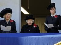 Britain's Camilla, Duchess of Cornwall (L), Britain's Queen Elizabeth II (C) and Britain's Catherine, Duchess of Cambridge (R) attend the Remembrance Sunday ceremony at the Cenotaph on Whitehall in central London, on November 11, 2018. 