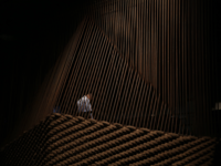 A man appears through a lattice of woven rope and bending rebar, exploring movement through the historical site of Jordan's Wadi Rum. A project designed by Anmahian Winton Architects Alex Anmahian, Mazen Sakr, and Aaron Bruckerhoff. (Al Bawaba/Salim Essaid)