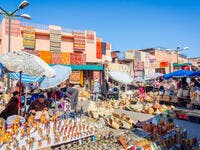 Carpets, crafts and souvenirs for sale at tourist market in Marrakech downtown on December 2016. (Shutterstock/ File)