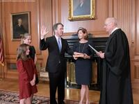 US Supreme Court nominee Judge Brett Kavanaugh is sworn in as the 114th Supreme Court justice. (Twitter)