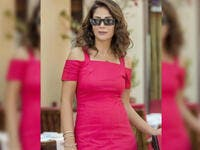 Mona sported a short red dress off shoulder dress for her latest photo shoot