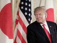 US President Donald Trump smiles during a joint press conference with Japan's Prime Minister Shinzo Abe (not pictured) at Akasaka Palace in Tokyo on May 27, 2019.  Kiyoshi Ota / POOL / AFP