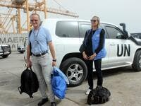 Representatives of the UN Redeployment Coordination Committee (RCC) arrive to attend a joint meeting with representatives of the Yemeni government and the Huthi rebels in Yemeni port city of Hodeida  (AFP)