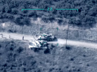 Capture from video released by Azerbaijan Ministry of Defense depicting a drone strike on Armenian T72 tanks /September 2020