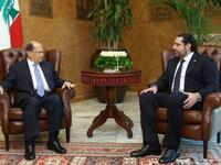Lebanese President Michel Aoun (left) meets with his new Prime Minister Saad Hariri at the presidential palace in Baabda, east of Beirut on November 3, 2016 (AFP /HO)