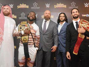 From left, Tripe H, Kofi Kingston, Mojo Rawley, Mansour Al-Shehail and Seth Rollins during the press conference on Thursday. (Photo: Huda Bashatah)