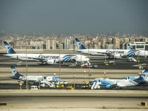 Egypt Air planes on the tarmac of Cairo international Airport.