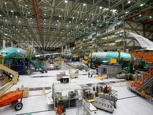 Several Boeing 777X aircraft are seen in various stages of production during a media tour of the Boeing 777X at the Boeing production facility in Everett, Washington, US, on February 27, 2019.