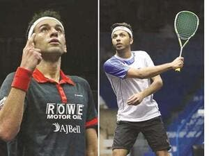 After missing out on two world titles in Doha, Mohamed ElShorbagy is keen to make amends this time. At right, Qatar hope Abdulla al-Tamimi.