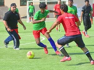 Action from the Galadari Football Championship at Al Quoz Dubai. (Photo: Shihab/Khaleej Times)