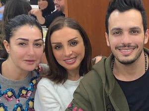 "Ghada met with Angham and her husband Ahmed Ibrahim after the recording of ""Hadootet Mara"" series soundtrack"