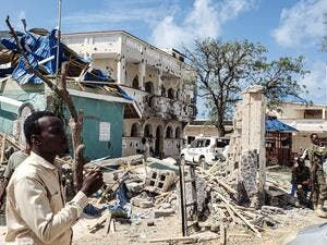 A suicide bomber rammed a vehicle loaded with explosives into the Medina hotel in the port town of Kismayo before several heavily armed gunmen forced their way inside, shooting as they went, authorities said. AFP