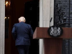 Britain's Prime Minister Boris Johnson walks back in to 10 Downing Street in central London on September 2, 2019, after delivering a statement outside. (AFP/ File Photo)