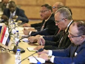 "Egyptian Water Resources Minister Mohamed Abdel Aati (2nd R) participates with a delegation in the ""Renaissance Dam"" trilateral negotiations with his Sudanese and Ethiopian counterparts (unseen) in the Sudanese capital Khartoum on October 4, 2019. (AFP/ File Photo)"