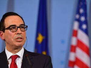 Secretary of the Treasury Steven Mnuchin addresses a press conference in Berlin on March 16, 2017. (JOHN MACDOUGALL/AFP/Getty Images)