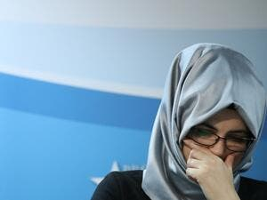 Hatice Cengiz, fiancee of the murdered journalist Jamal Khashoggi gives a press conference with United Nations Special Rapporteur on extrajudicial, summary or arbitrary executions, on December 3, 2019 in Brussels, regarding the UN investigation into the unlawful death of Mr. Jamal Khashoggi and follow up activities to ensure accountability. A Saudi hit squad killed and dismembered Khashoggi in the Saudi Arabian consulate in Istanbul, on Oct 2, 2018. His body was never recovered. Aris Oikonomou / AFP