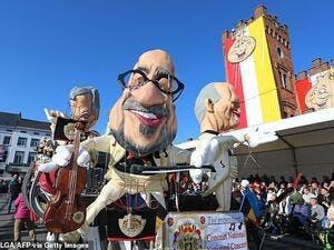 The carnival (pictured), which depicts male characters with crooked, oversized noses holding instruments, has 'turned out to be a bad thing not only for the Jewish community but for the whole of Belgium', according to Belgium's Forum of Jewish Organisations. (AFP)