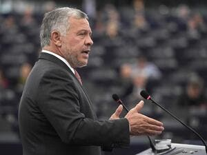 Jordanian King Abdullah II delivers a speech at the European Parliament on January 15, 2020 in Strasbourg, eastern France. Frederick FLORIN / AFP