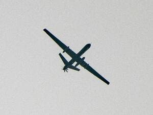 An unidentified unmanned aerial vehicle seen flying over a region between Idlib and Aleppo on November 22. (File photo: AFP)