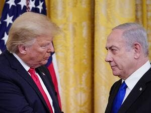 "US President Donald Trump and Israel's Prime Minister Benjamin Netanyahu take part in an announcement of Trump's Middle East peace plan in the East Room of the White House in Washington, DC on January 28, 2020. Trump declared that Israel was taking a ""big step towards peace"" as he unveiled a plan aimed at solving the Israeli-Palestinian conflict. ""Today, Israel takes a big step towards peace,"" Trump said, standing alongside Netanyahu as he revealed details of the plan already emphatically rejected by the Pa"