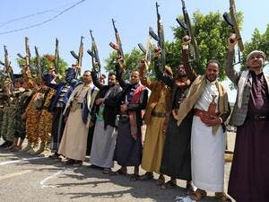 Yemeni gunmen loyal to the Huthi movement brandish their weapons during a rally in the capital Sanaa, to show support to the movement against the Saudi-led intervention in the country on July, 7, 2020. Mohammed HUWAIS / AFP