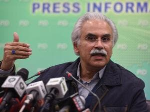 Zafar Mirza briefs the media on the coronavirus, in Islamabad, on Feb. 1. (Farooq Naeem/AFP/Getty Images)