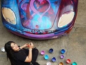 "Sharbatly, a pioneer of the ""Moving Art"" school, is widely known for her style of painting on cars. (Instagram)"