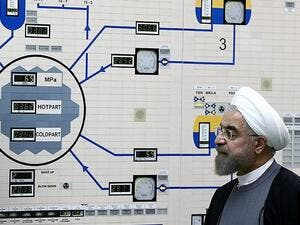 Iranian President Hassan Rouhani visits the control room of the Bushehr nuclear power plant in the Gulf port city of Bushehr. (File photo: AFP)