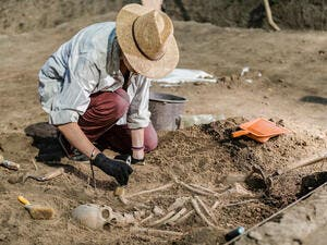 Archaeological excavations, human skeleton remains, found in an ancient tomb. (Shutterstock/ File Photo)