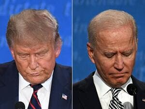 In this file photo taken on September 29, 2020 (FILES) (COMBO) This combination of file pictures shows US President Donald Trump (L) and Democratic Presidential candidate and former US Vice President Joe Biden during the first presidential debate at Case Western Reserve University and Cleveland Clinic in Cleveland, Ohio, on September 29, 2020. The majority of young people in America don't vote. This year, however, in a crucial election between two septuagenarians, experts anticipate that a record number wil