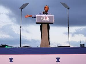 Former U.S. President Barack Obama speaks at a drive-in rally for Democratic presidential nominee Joe Biden on October 21, 2020 in Philadelphia, Pennsylvania. The campaign stop is the first in-person event for the former president on behalf of his former vice president. Biden is polling ahead of President Donald Trump in this battleground state that Trump narrowly won in 2016. Michael M. Santiago/Getty Images/AFP Michael M. Santiago / GETTY IMAGES NORTH AMERICA / Getty Images via AFP