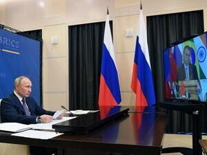 Russian President Vladimir Putin attends the XII BRICS Summit via videoconference at Novo-Ogaryovo state residence, outside Moscow, on November 17, 2020. Alexey NIKOLSKY / SPUTNIK / AFP