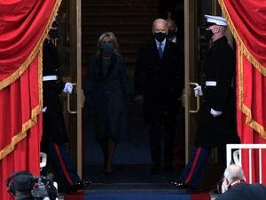US President-elect Joe Biden and incoming US First Lady Jill Biden arrive for the inauguration of Biden as the 46th US President on January 20, 2021, at the US Capitol in Washington, DC. ANDREW CABALLERO-REYNOLDS / AFP