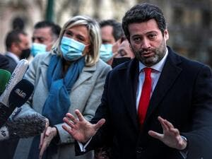 In this file photo taken on January 08, 2021 President of French far-right party Rassemblement National (RN), Marine Le Pen (L) and the leader of Portuguese far-right party Chega, Andre Ventura hold a joint press conference at the Monument to the Fallen in the Great War in Lisbon. The first round of the presidential election will be held on January 24, 2021. The head of the anti-establishment party Chega, MP Andre Ventura, aims to bolster the inroads this new right-wing populist party has made since it ente
