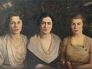 "Assad Ghosn's ""Untitled Portrait of Three Women."" c. 1940. Courtesy private collection. (https://www.turath2020.org/art)"