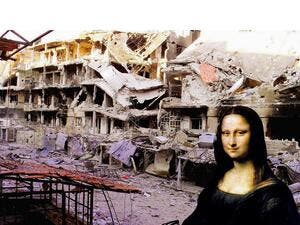 The photomontage piece of Azzam reveals an artistic shiver with destruction