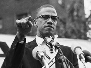 Black and white photo for US Civil Rights activist Malcolm X. (Twitter)